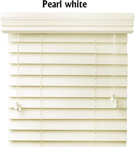 Bravada Select, Superior 2 Faux Wood Blinds Pearl, 72 Wide x 72 Length