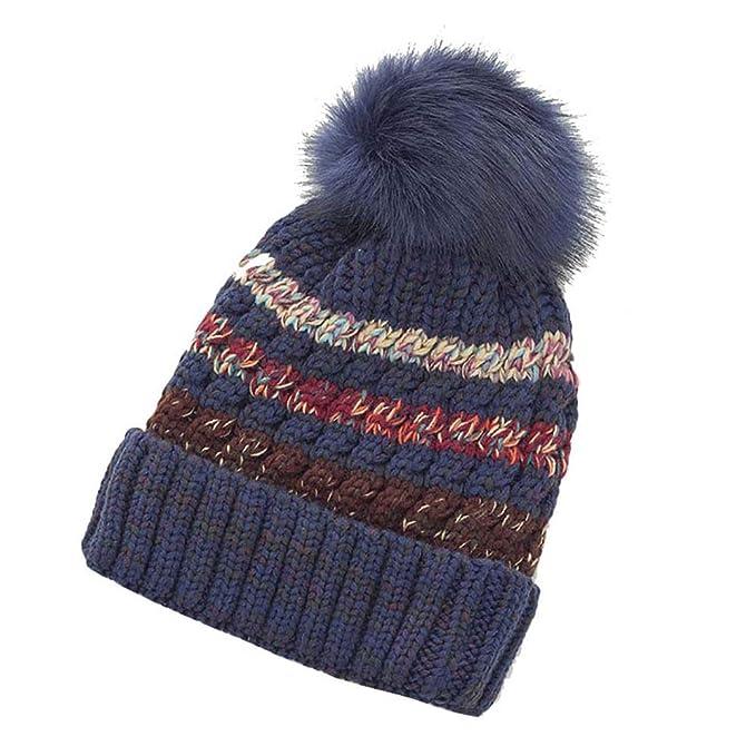 Uworth Gorros de Punto para Mujer Invierno Lana Sombrero de Punto de Mujer  Gorros con Pompon 62da15b7278