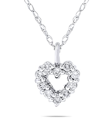 0dc9b6a8dede Image Unavailable. Image not available for. Color: 1/10 Carat Small Petite Diamond  Heart Pendant Necklace in 14k White Gold