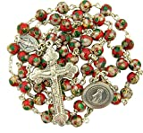 Red Cloisonne Enamel Prayer Bead Rosary with Miraculous Medal Center, 20 Inch