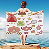 iPrint Kids-Decor Quick Dry Plush Microfiber (Towel+Square scarf+Bath towel) Princess-Tiara-Tea-Party-Mirror-Teapot-Tea-Party-Frog-Crown-Fairy-Cupcake-Girls-Decorative And Adapt to any place