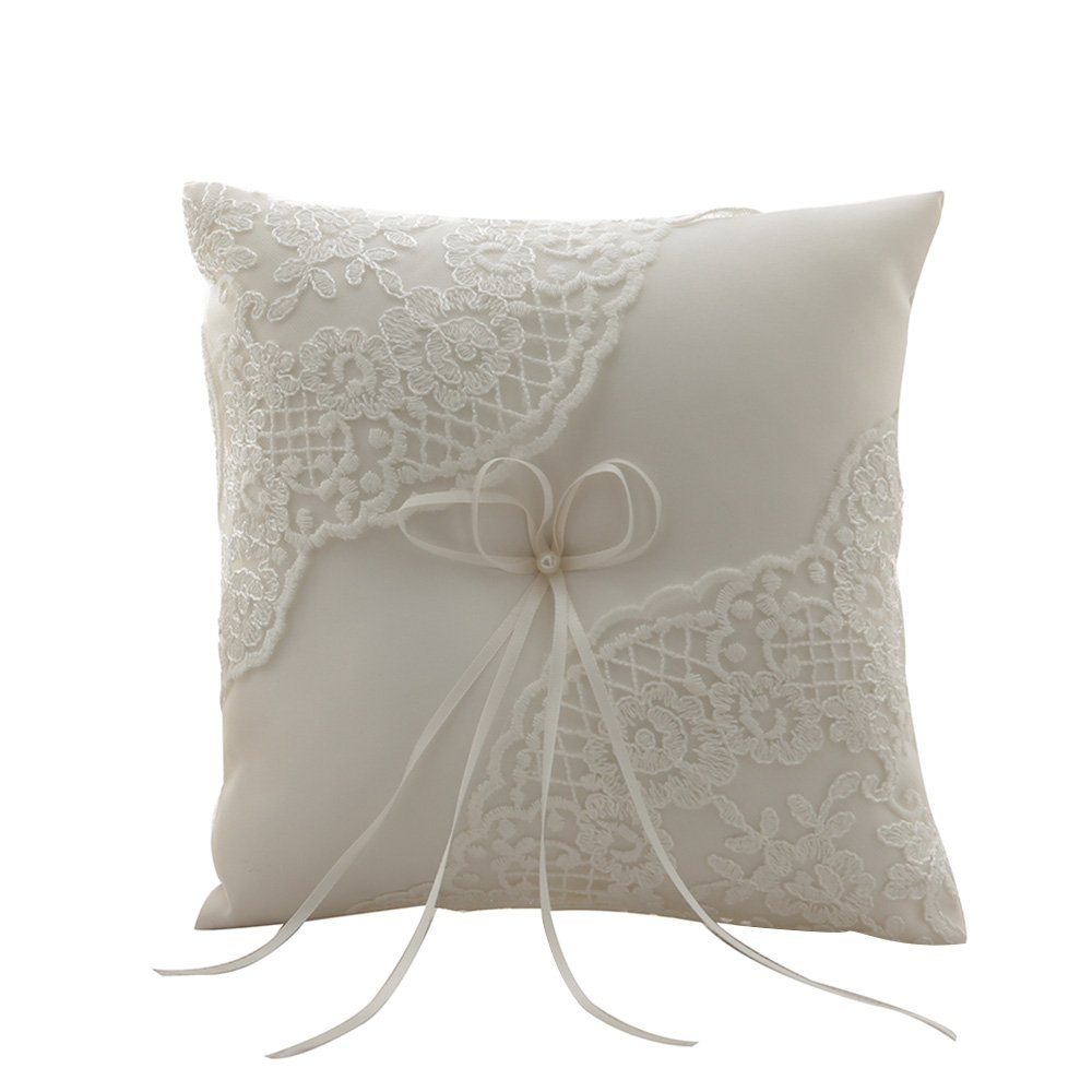 Amajoy Ivory Satin and Lace Wedding Ring Pillow Cushion Embroider Flower with Bow , 8 Inch (21cmx 21cm) Ring Bearer for Beach Wedding, Wedding ceremony by Amajoy