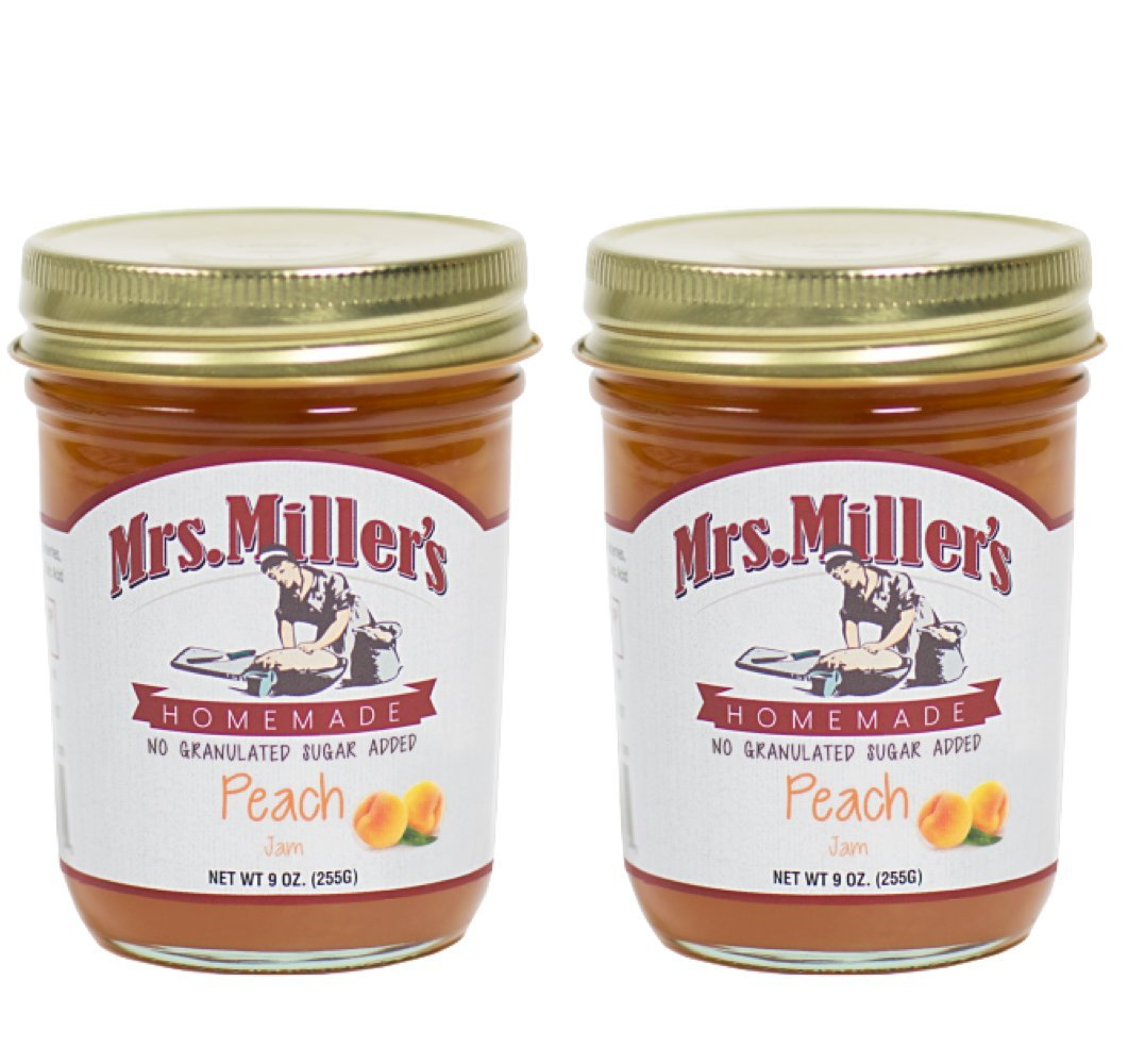 Mrs. Miller's Amish Homemade Peach No Granulated Sugar Added Jam 9 Ounces - Pack of 2 (No Corn Sugar)