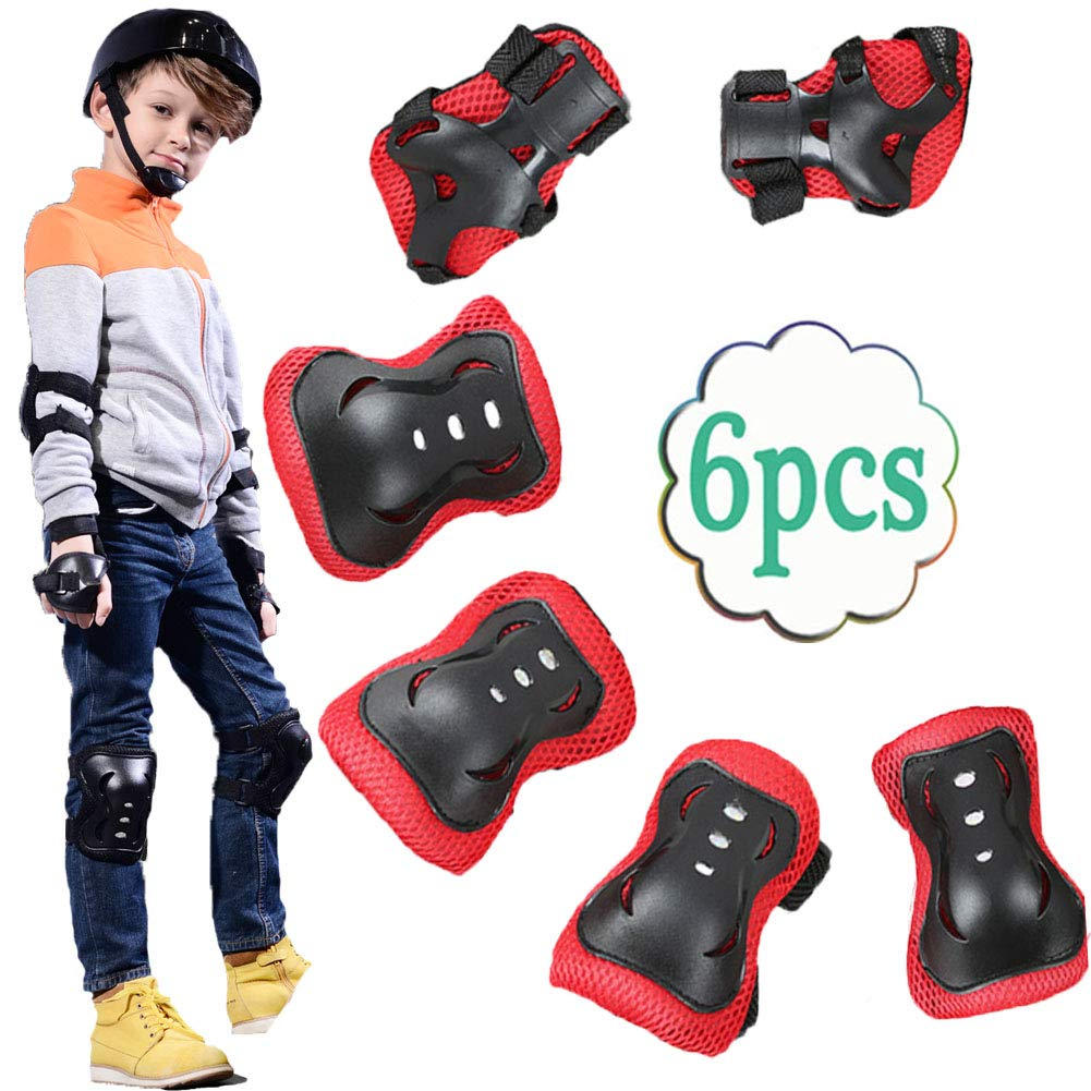 UOFEIVS Kid's Inline Skating Roller Blading Wrist Elbow Knee Pads Guards Protective Gear Set for Rollerblade Roller Skates Cycling BMX Bike Skateboard Inline Skatings Scooter Riding Sports (Black) by UOFEIVS