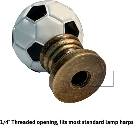 Alloy Soccer Ball Lamp Finial Antiqued Brass Base 1 75 H Amazon Com