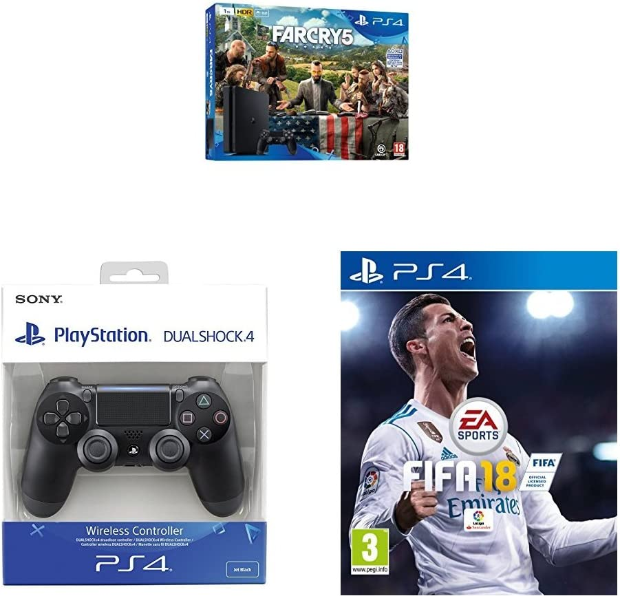 Playstation 4 (PS4) - Consola de 1 TB + Far Cry 5 + FIFA 18 + ...