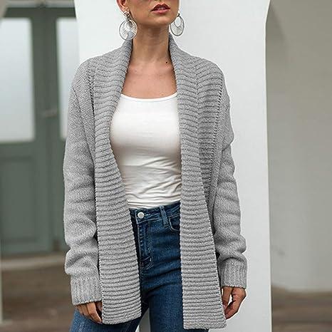 Mujer Invierno Cardigan,🍒 Jessboy🍒 Jersey de Punto Suelto Color ...