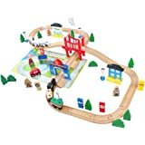 ACOOLTOY Trains et Formes à Empiler en Bois Chariots à Plusieurs Figures Géométriques Jouet à Tirer Educatif pour Enfants (80 Pièces)