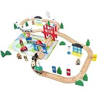 ACOOLTOY Pista Treno in Legno del Giocattolo Treno 80 Pezzi Ferrovia di Legno Flessibile Traccia Educativo per Bambini 3 Anni