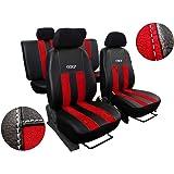 POK-TER-TUNING Autositzbezüge, Sitzbezüge Set Kunstleder mit ALCANTRA - Design GT. in Diesem Angebot Rot.