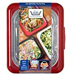 FANCY PANZ Portable Casserole Serveware, for Indoor and Outdoor Use, Red, Bonus Foil Pan Included