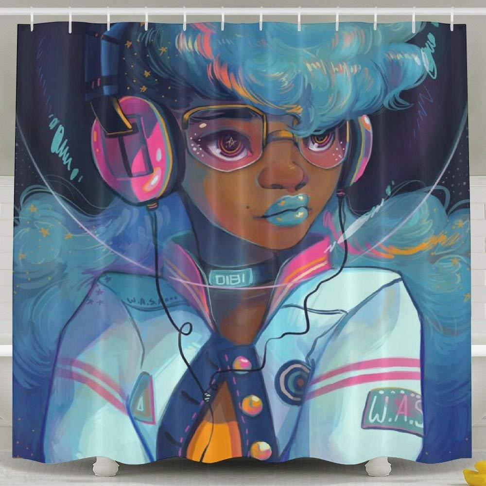 African Black Women with Blue Hair Shower Curtain,Waterproof Polyester Shower Curtain Sets for Men/Women CXMS