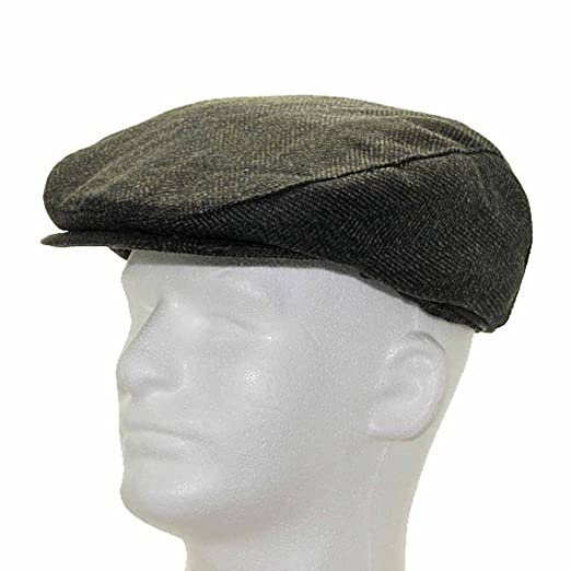 b5e877d3c33 Classic ENGLISH DRIVER Herringbone Wool Ivy Cap Hat Scaly Made in USA BROWN  7 7