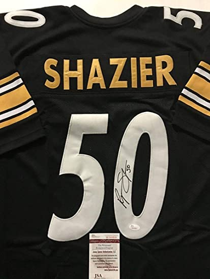 new concept dc3a5 44cbf Autographed/Signed Ryan Shazier Pittsburgh Black Football ...