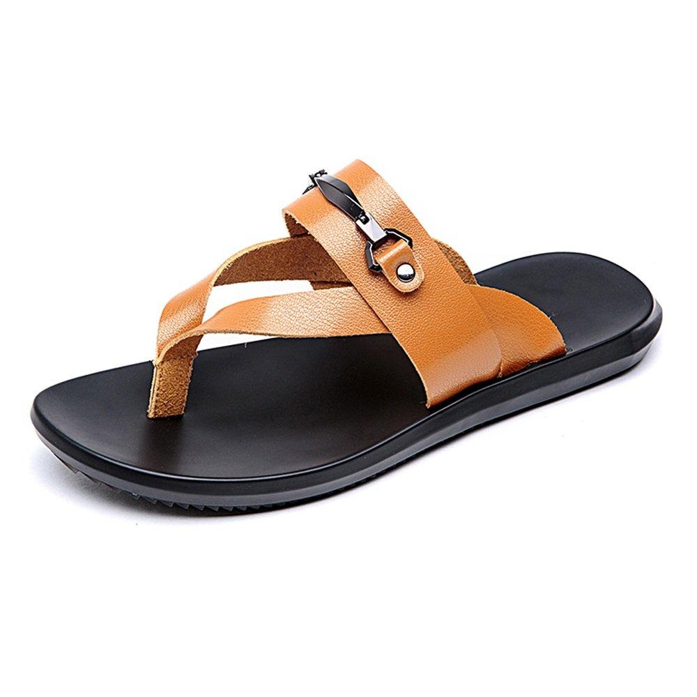 Chancletas Casuales de los Hombres Zapatos Zapatillas de Playa de Cuero Genuino Sandalias Planas Suaves Antideslizantes,para los Hombres Orange