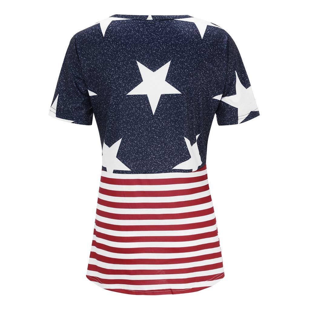 Women Short Sleeve American Flag Print Knot T-Shirt Casual Top Camis Tunics Blouse Blue