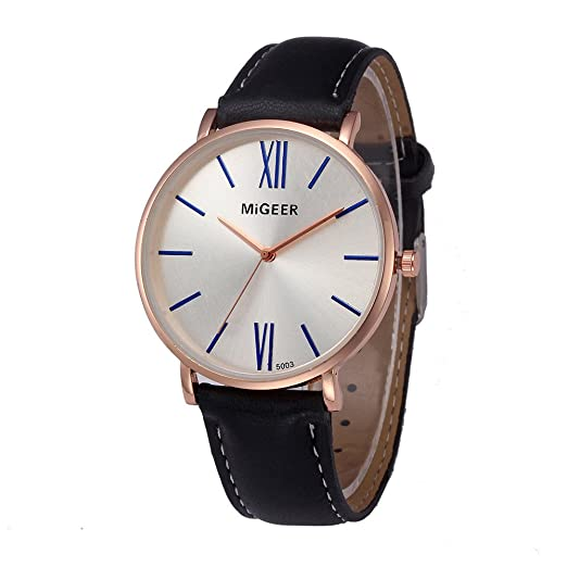 Wrist Watches for Men DYTA PU Leather Watch Band Business Watch Luxury Watches with Stainless Steel