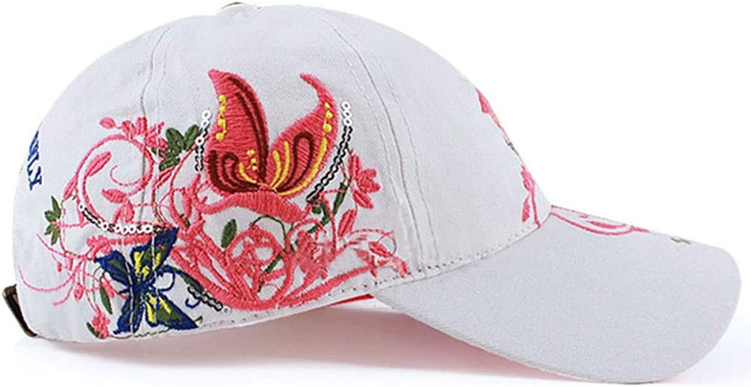Women Butterfly Embroidery Hat Adjustable Baseball Cap Flowers Cotton Cap Casual Fashion Summer Snapback Cap