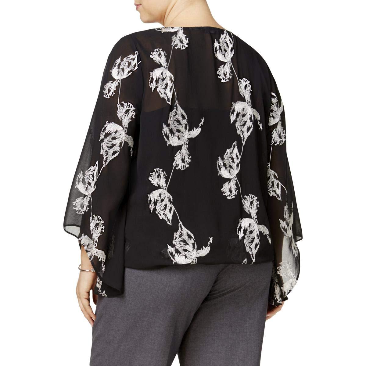 Alfani Plus Size Embroidered Kimono-Sleeve Top