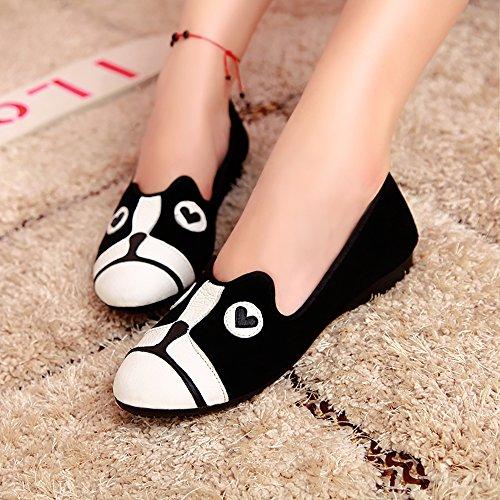 ALBBG Classics Flache Beiläufige Loafer Weiche Tägliche Gehende Slip-On Fahr Sneaker Mädchen Damenschuhe Schwarz Hund