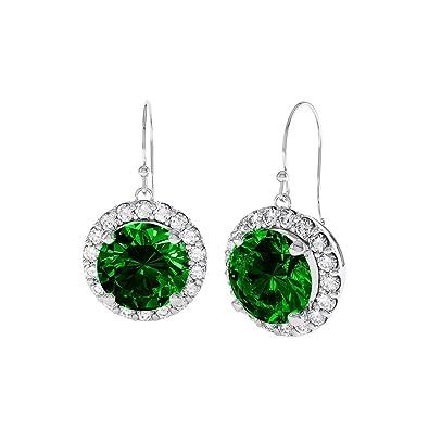 Stardust 2.3ct Emerald and Diamond Halo Silver Stud Earrings (WHITE GOLD) kypl3u