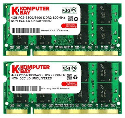 Komputerbay 8GB 2X 4GB DDR2 800MHz PC2-6300 PC2-6400 DDR2 800 (200 PIN) SODIMM Laptop - Ddr Memory Fast