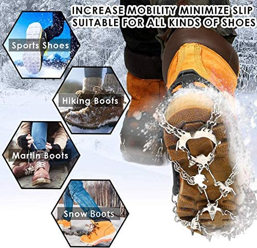 Hurdilen Crampons for Shoes,24 Spikes Stainless Steel Ice Traction Cleats for Snow Boots and Shoes,Safe Protect Grips for Hiking Fishing Walking Mountaineering