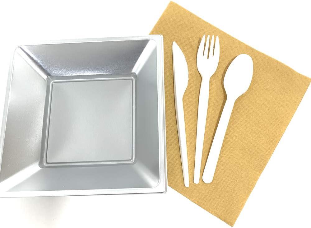 cucharas, 100 Juego de 100 cucharas de cubiertos desechables en pl/ástico blanco de 12,7 cm