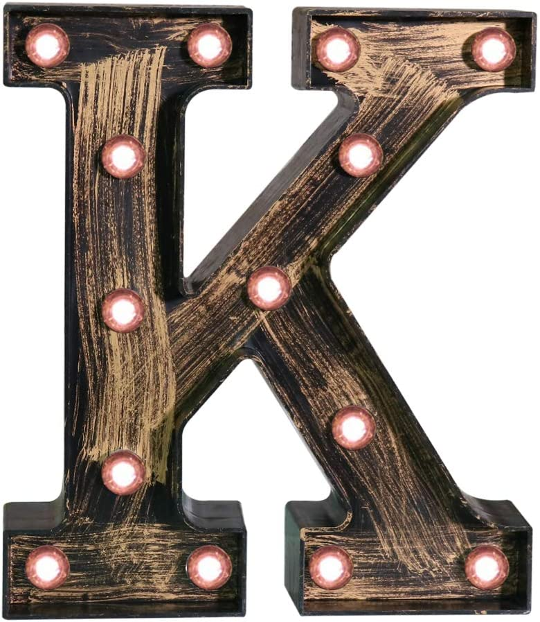 Pooqla Vintage Light Up Marquee Letters with Lights – Illuminated Industrial Style Lighted Alphabet Letter Signs - Coffee Bar Apartment Bedroom Wall Home Initials Decor - K