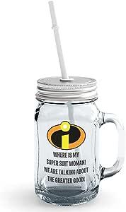 برطمان الماسون الزجاجي Super Hero Suit Quote Clear Mason Jar مع غطاء وقش