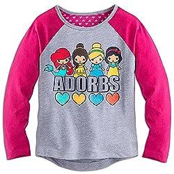 Disney Girls Princess Adorbs Long Sleeve Raglan Tee 7/8 Pink