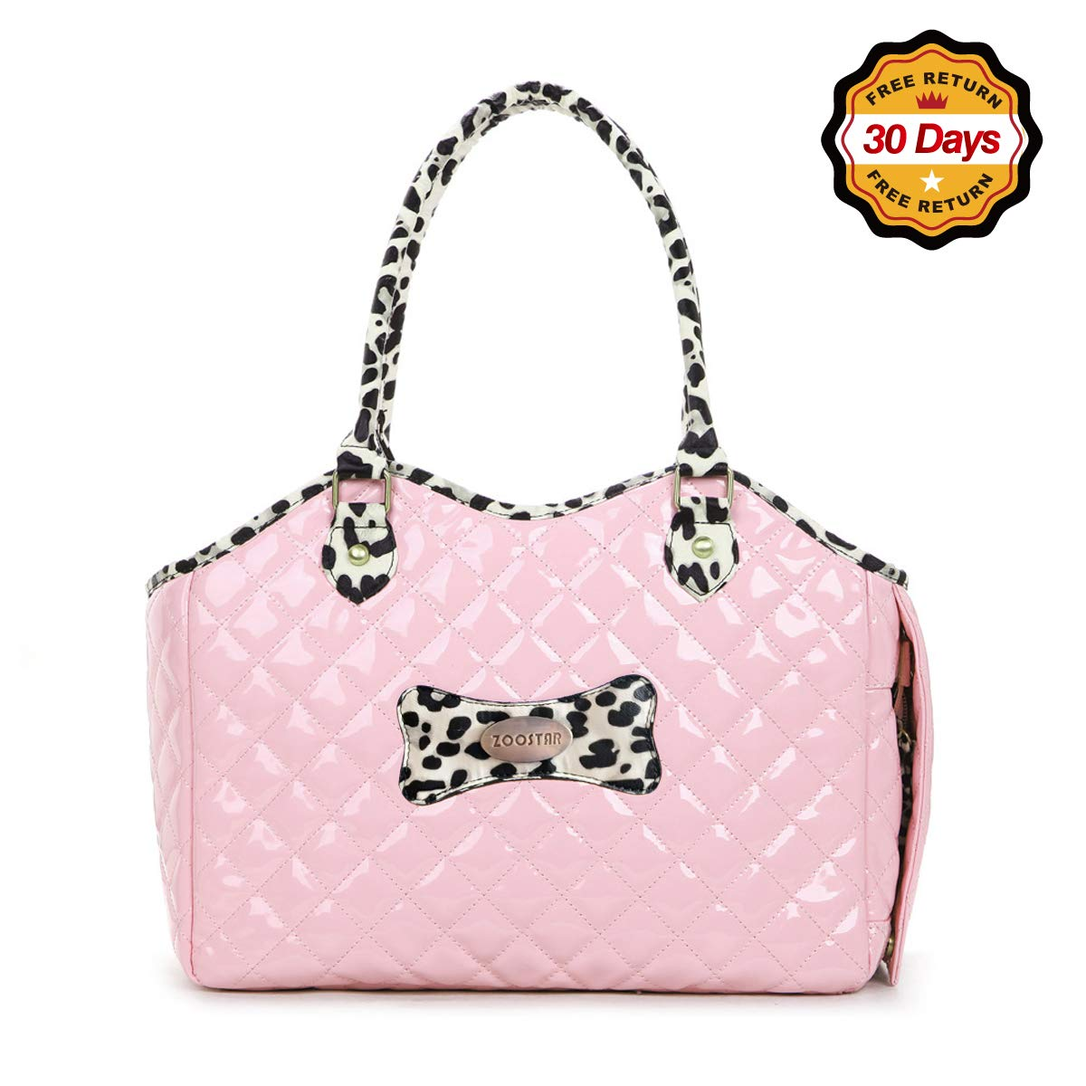 Dog Carrier Purse Pet Travel Bag Cat Portable Handbag,Soft Sided Tote with 2 Fleece Pads for Small Pets,Come with a Pet Comb,Up to 15lbs,Go Traveling Hiking Shopping with Your Doggy (Pink) by ZOOSTAR