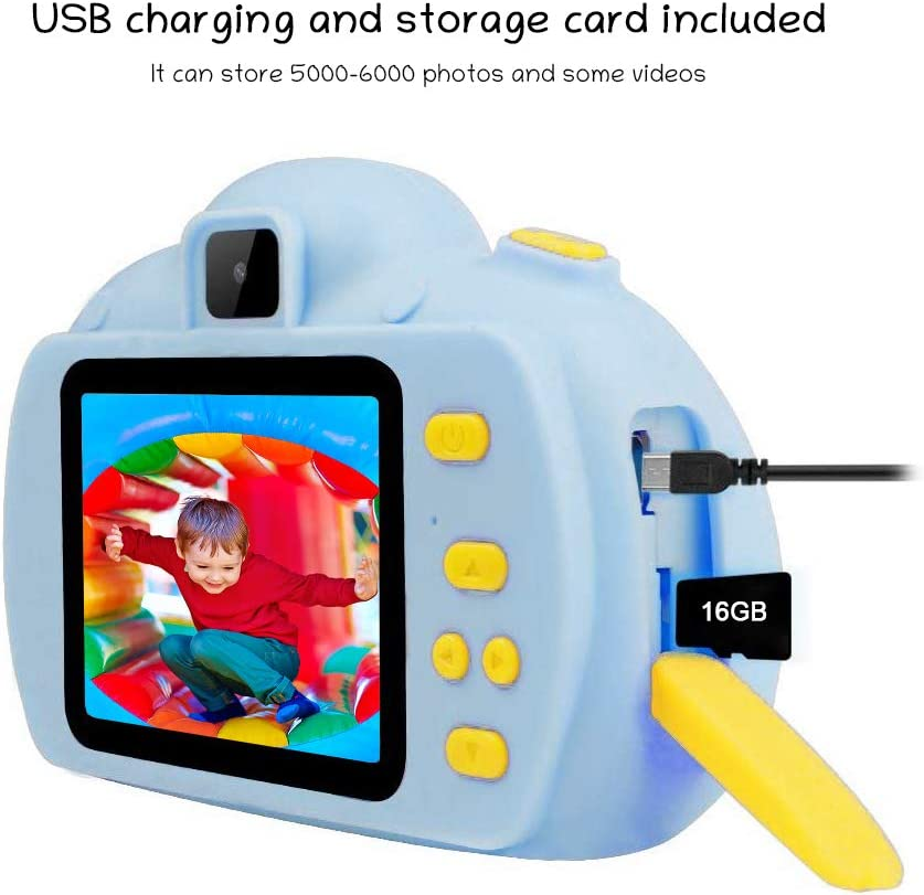 No Peculiar Smell Kids Camera Gifts with 1080P 8MP 2 Inch IPS Screen Digital Video Camera Gifts for Kids Boys Girls for 3-12 Years Old Shockproof and Rechargeable Kids Camera with 16GB SD Card