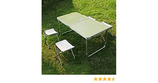 SPEED 120*60*70/54cm Plegable mesa Mesas de picnic Camping mesa plegable Maletín mesa para Jardín Muebles y accesorios de jardín Amarillo claro