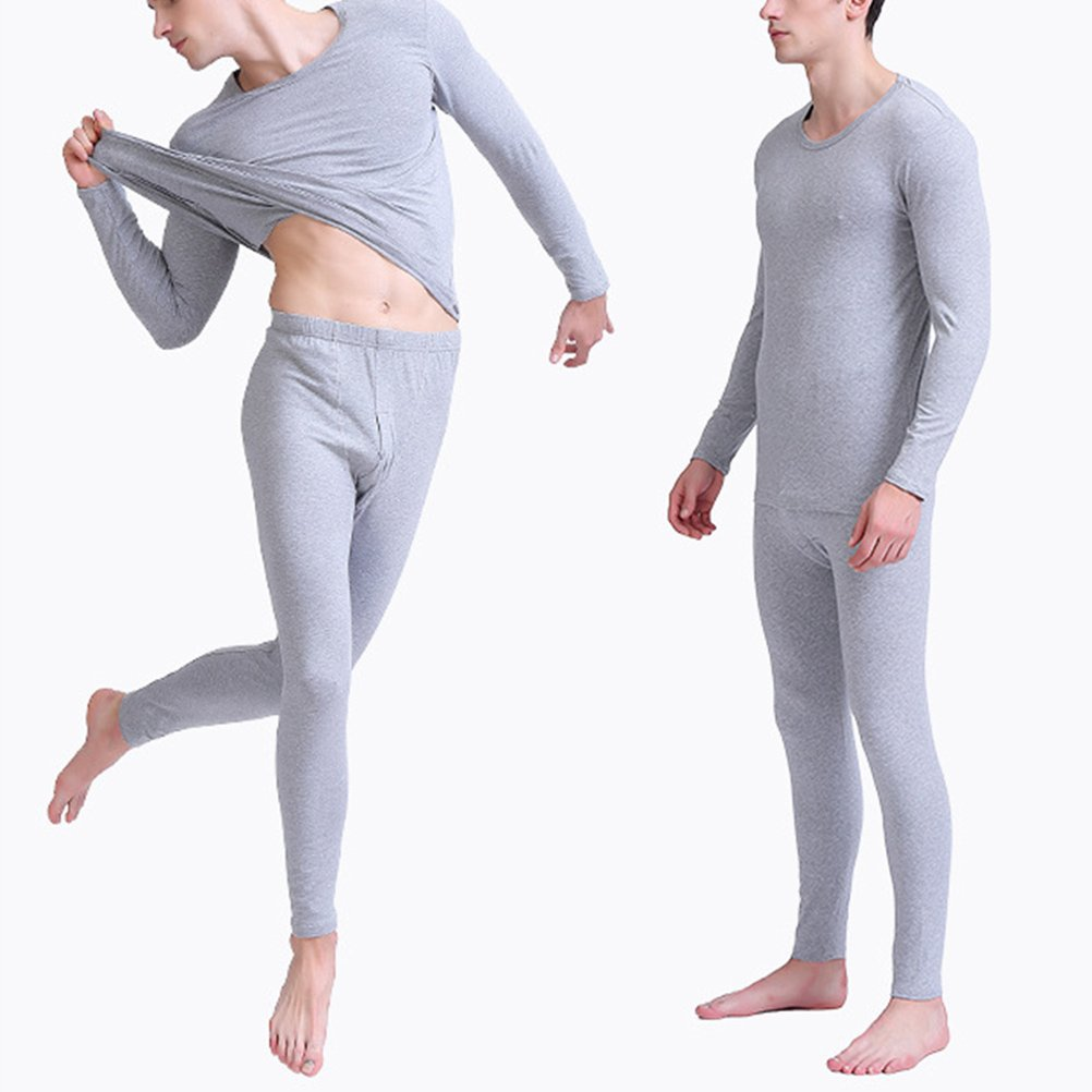Zhhlaixing Mens Autumn Winter Body Slim Round-Neck Thermal Underwear Suits Bamboo Fiber Thin Long Sleeve Vest Top /& Long John Set