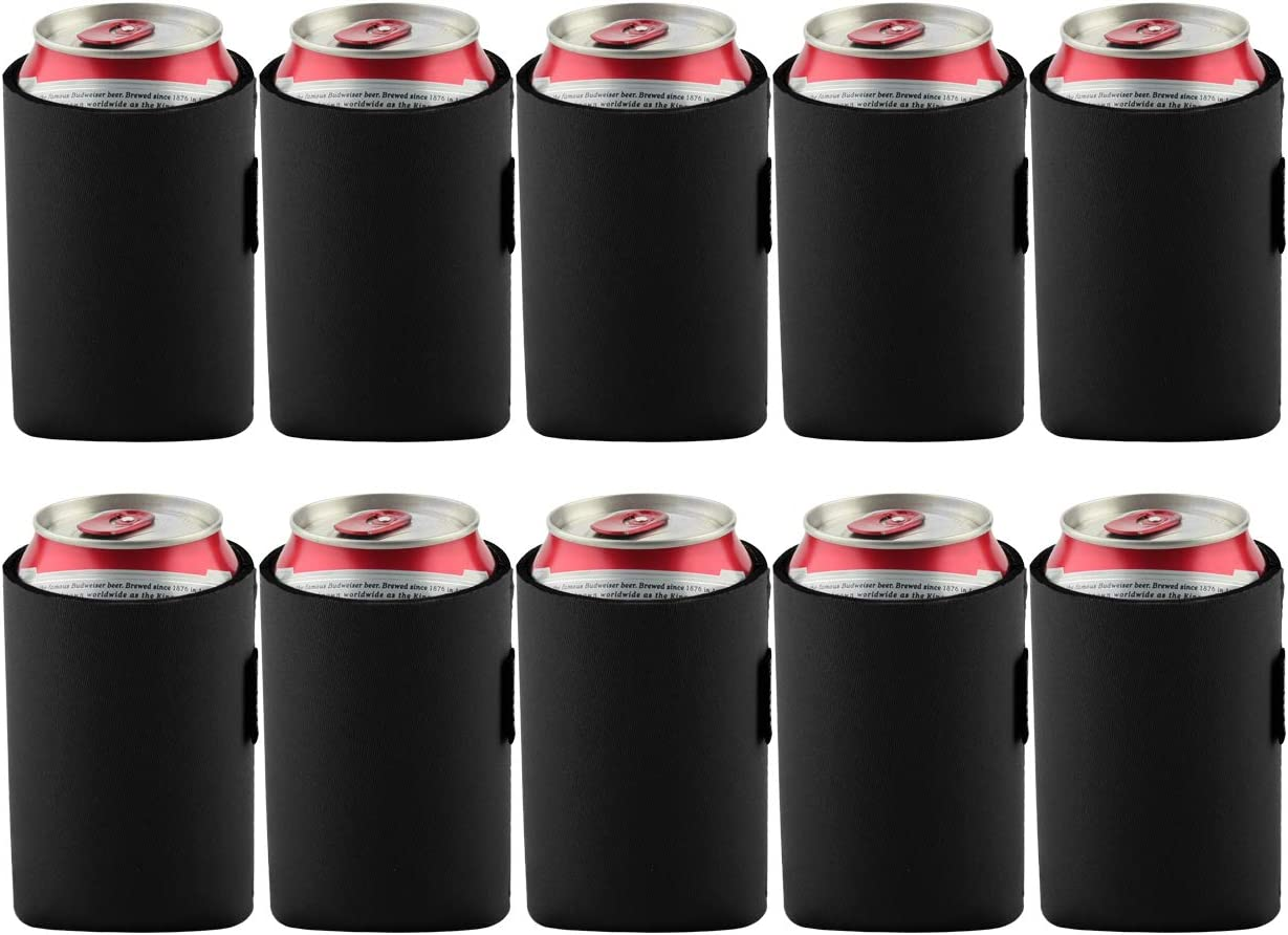 Bluecell 10pcs Standard 12oz Beer Can Sleeves Blank Neoprene Insulated Beer Can Coolers, Premium Quality Soft Drink Collapsible Insulators (Black)