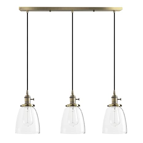 Pathson 3 Iluminacións 14.3 cm Lámpara colgante Vintage Industrial E27 Lámpara retro de techo Lámpara de vidrio lámpara suspensión para café, cocina, ...