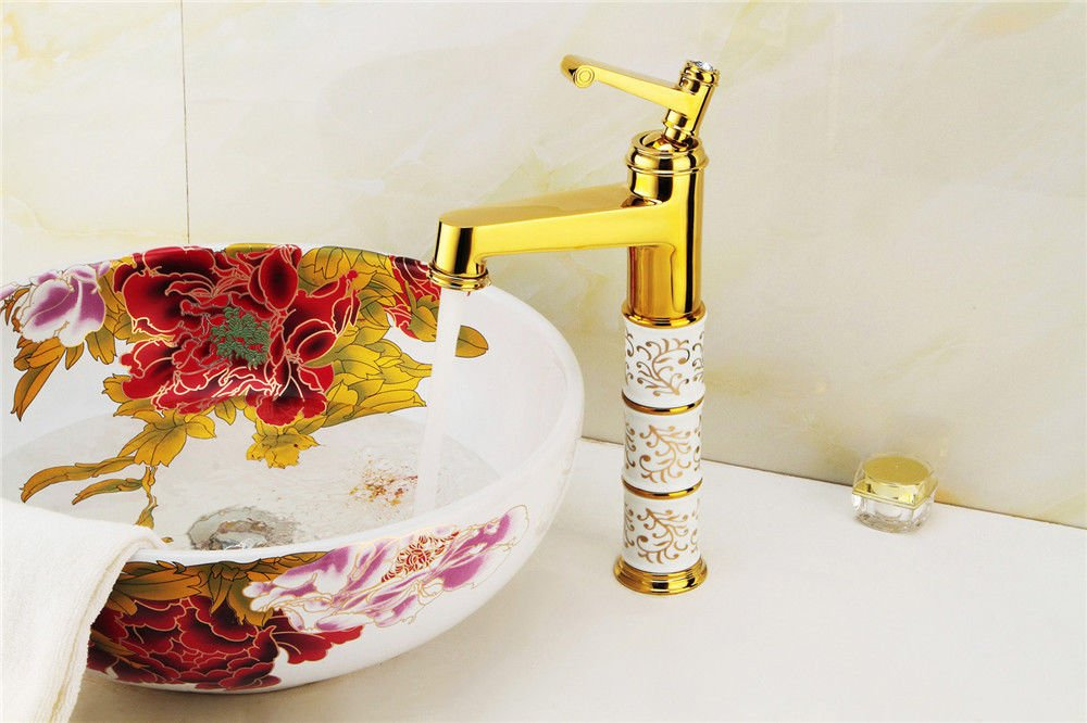 SADASD Modern Copper Bathroom Basin Faucet gold-Plated Wash Basin Sink Taps Single Hole Single Handle Ceramic Valve Hot And Cold Water Mixer Tap With G1 2 Hose