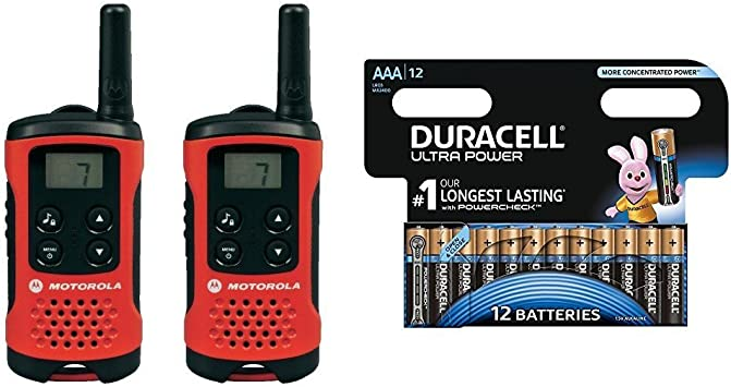 Motorola TLKR T40 - Walkie-Talkie (pantalla LCD, alcance hasta 4 km), color rojo y negro con Duracell Ultra Power: Amazon.es: Electrónica