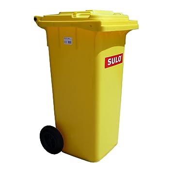 Cubo de basura 2 ruedas, contenedor a basura SULO 120 litros, amarillo (22071): Amazon.es: Jardín