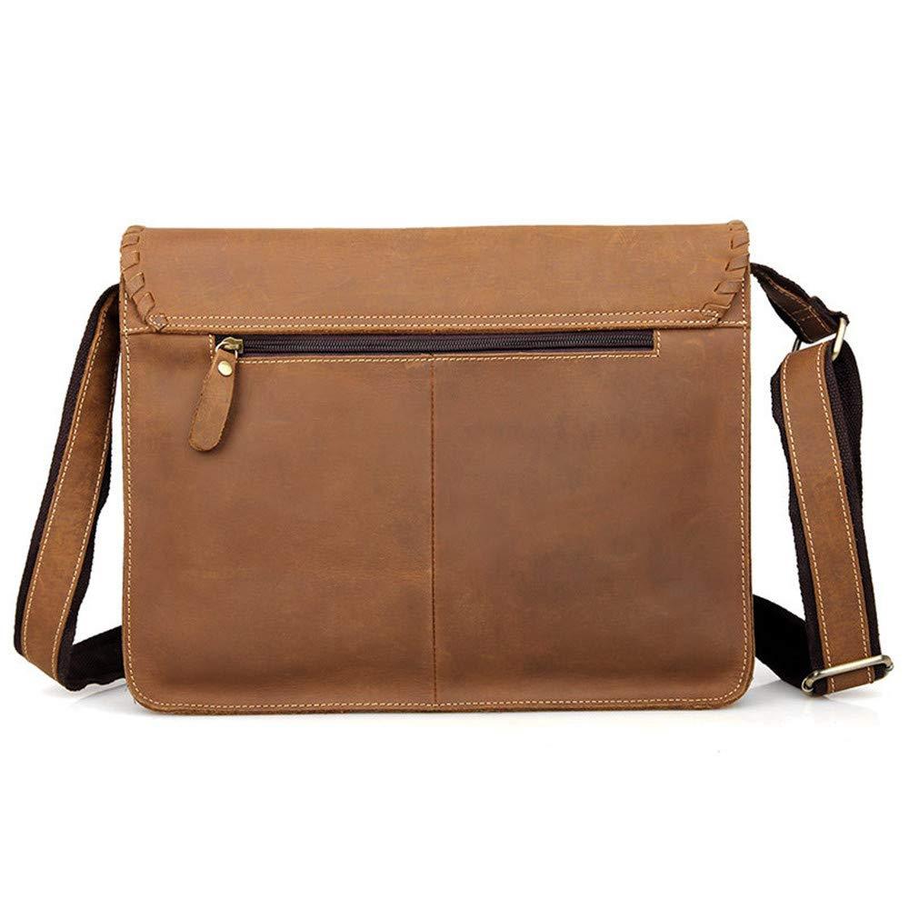 Techecho Mens Bag Mens Diagonal Bag Retro Envelope Decoration Messenger Bag Can Hold 14-inch Laptop Shoulder Bag Large Capacity Leather Computer Bag