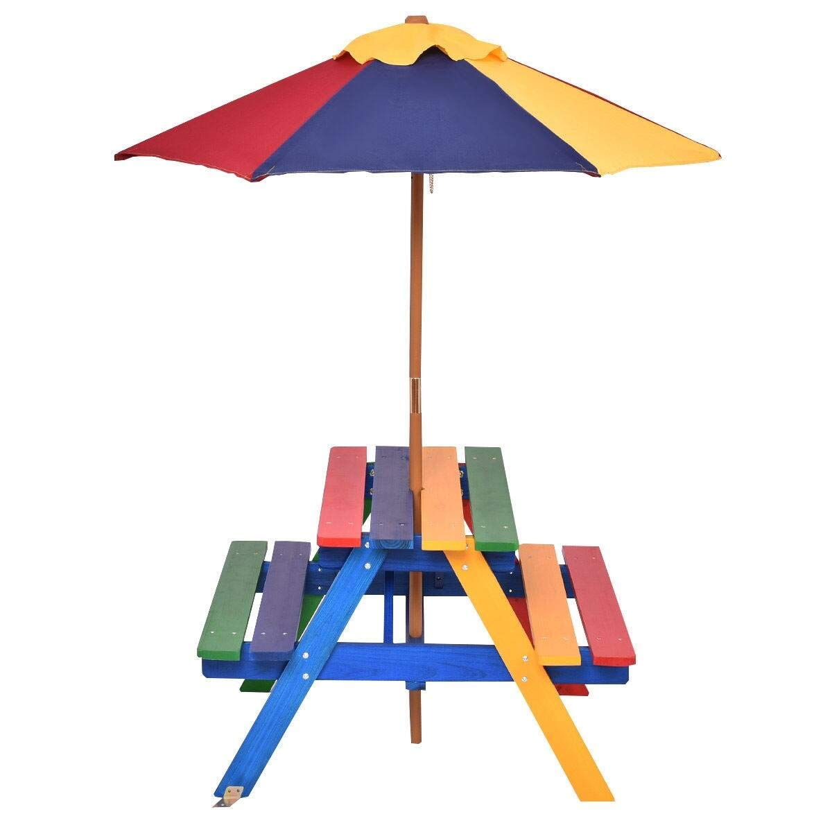 Costway 4 Seat Kids Picnic Table w/Umbrella Garden Yard Folding Children Bench Outdoor by COSTWAY