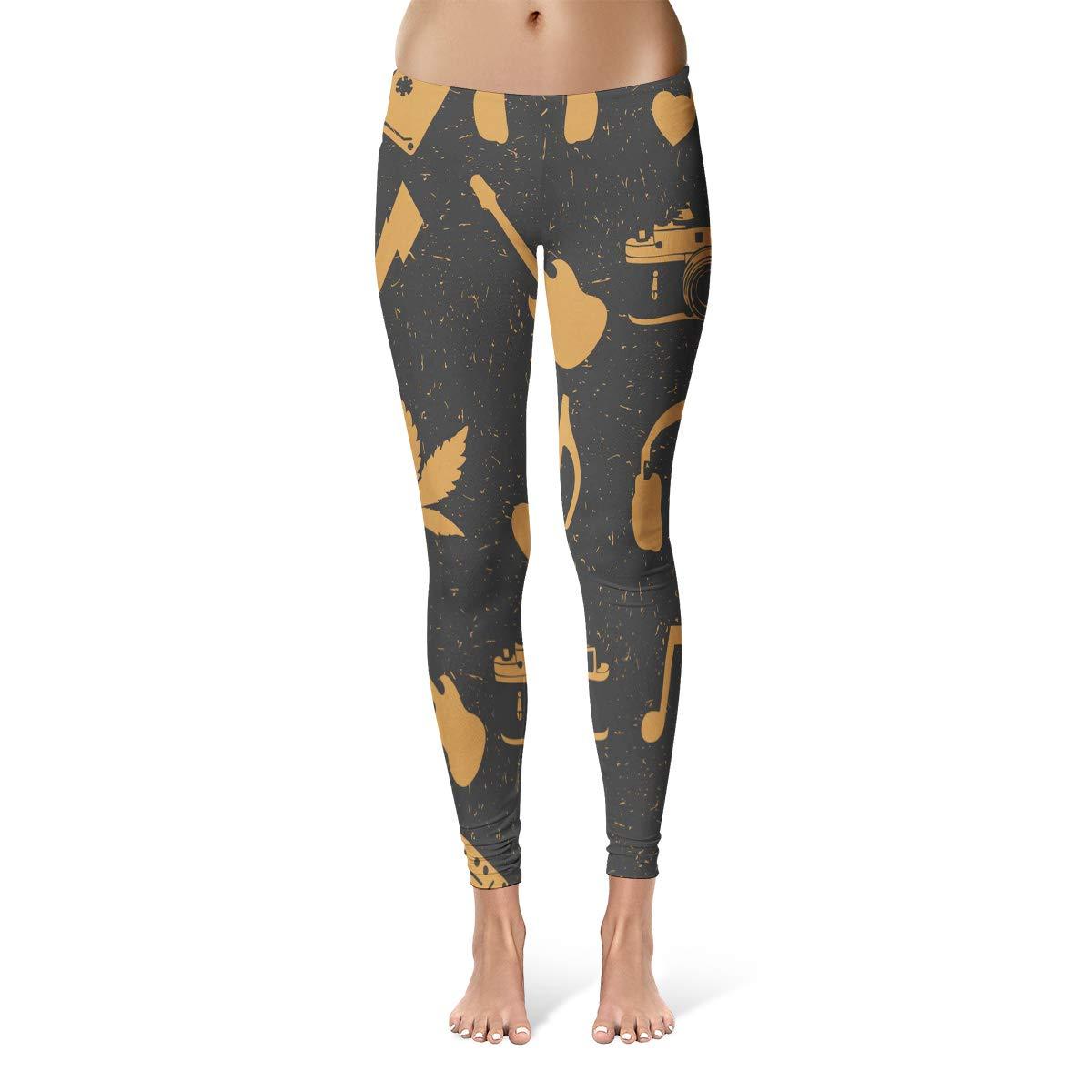 Tinmun Hippie Marijuana Leaves Headphones Old Camera Heart Guitar Music Leggings Skinny Pants for Women Yoga Running Gym
