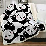 EIIORPO Cartoon Panda Sherpa Throw Blanket Super Soft Cozy Plush Fleece Blanket for Bed Couch Chair Baby Crib Living…