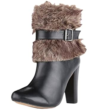Chase and Chloe APOLLO-5 Women's Almond Toe Leatherette Fur Collar Chunky Heel Bootie, Black