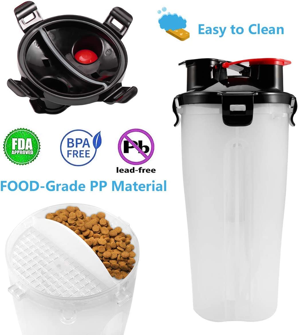 GLE2016 Dog Travel Water Bottle Bowls 2 in 1 Portable Dog Travel Water Dispenser with 2 Collapsible Silicone Bowls,Outdoor Dog Water Bowls for Walking Hiking Travelling