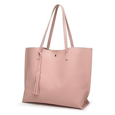 Ularma Mode Femmes Jeunes filles Glands En cuir Sac Shopping Sac à main  Épaule Fourre- c869c7458eb2