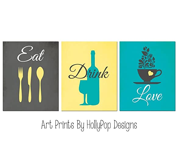 Amazon.com: Eat Drink Love - Modern Kitchen art prints - Yellow Gray ...