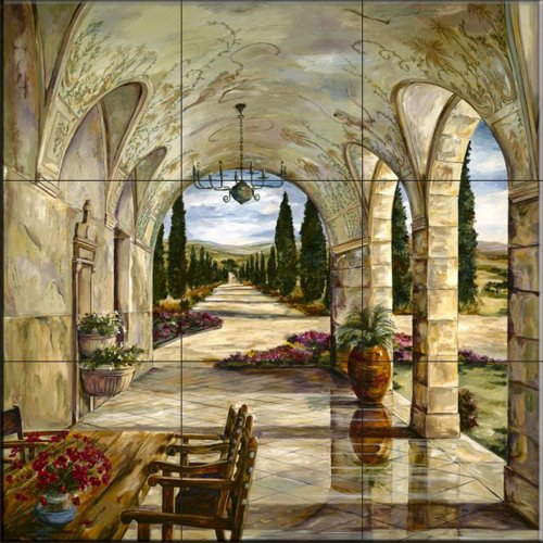 - Ceramic Tile Mural - Cypress Lane- by Karen Stene - Kitchen backsplash / Bathroom shower