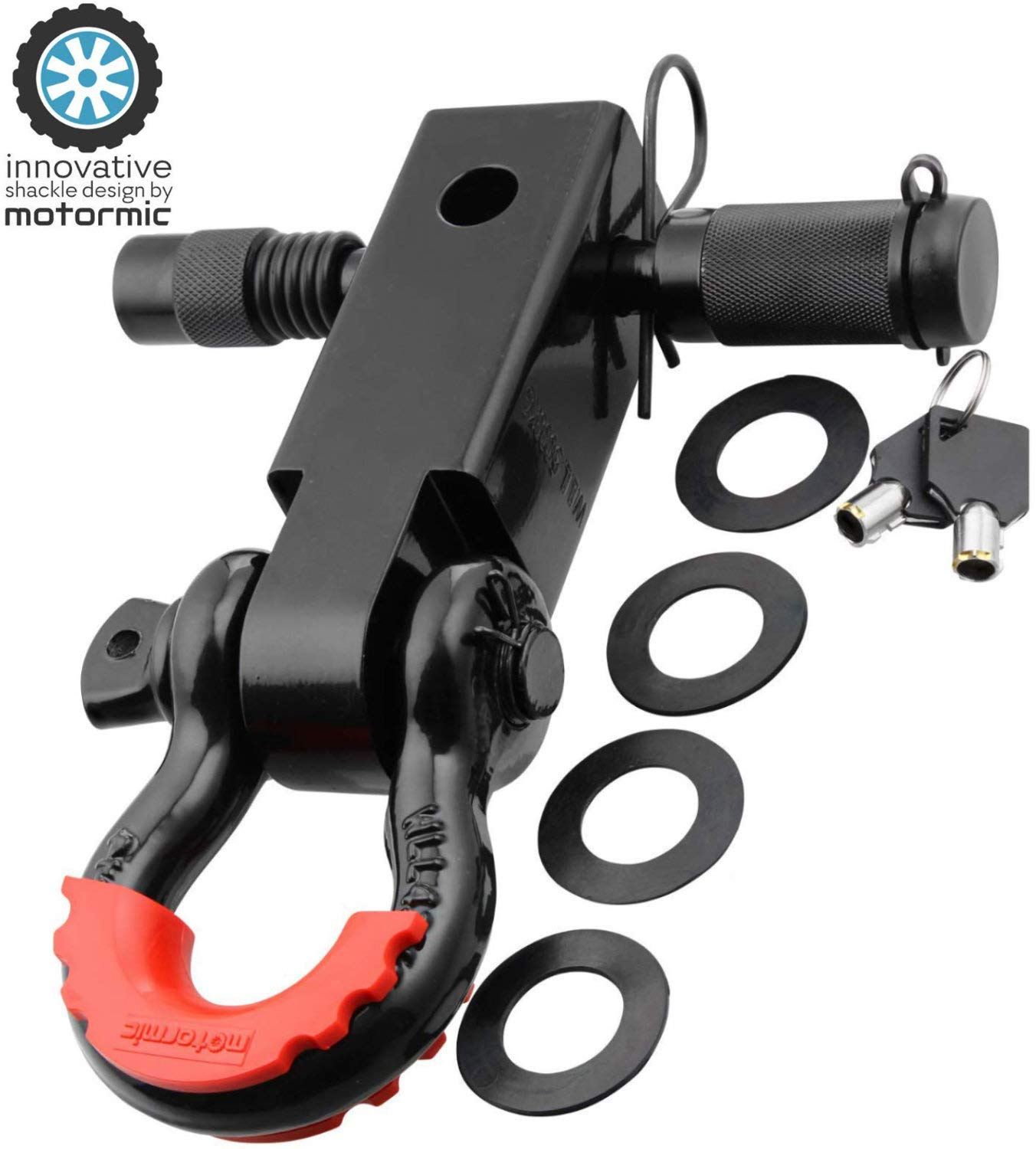 motormic Shackle Hitch Receiver 2'' + 5/8'' Trailer Lock Pin and 3/4'' D Shackle (35,000 lbs Max Capacity) - Heavy Duty Off Road Recovery Black D Ring with 4 washers + Red Isolator for Jeep Towing by motormic